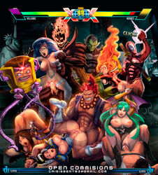 2014 5girls 6boys :o abs akuma anal ass ass_up balls blue_hair boots breasts brown_hair capcom chun-li claws clothed clothing crisisbeat crossover cum cum_in_ass cum_in_pussy cum_inside cum_on_penis darkstalkers deadpool doggy_style english_text erection felicia_(darkstalkers) feline female fire fist footwear from_behind grasp green_hair group group_sex hair half-dressed headgear hi_res human hybrid long_hair male mammal marvel marvel_vs_capcom mask modok nipples open_mouth orgasm orgy pecs penetration penis phoenix_(x-men) presenting presenting_pussy pussy raised_leg red_hair sex sharp_claws sideboob size_difference skull spitroast spread_legs spreading straight street_fighter superhero text upside-down vaginal_penetration