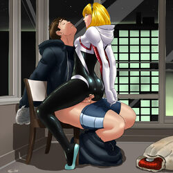 ass blonde_hair blue_eyes bodysuit breasts brown_hair chair city closed_eyes clothed_sex edge_of_spider-verse female femdom grillo gwen_stacy hairband hood hoodie marvel night pants_down peter_parker pussy_juice sex short_hair shorts shorts_down shorts_pull sitting skin_tight spandex spider-man_(series) spider-woman spider_web upright_straddle vaginal_penetration