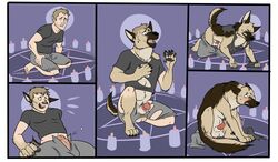 balls canine canine chubby clothing embarrassed german_shephard knot knot_in_sheath magic_user mammal ripped scared sheath transformation witch