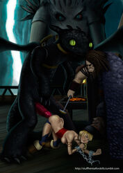 astrid_hofferson branding dragon forced how_to_train_your_dragon male night_fury open_mouth penis rape sex toothless