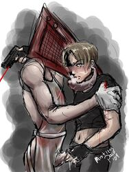 2boys blood crossover gay gun leon_kennedy leon_s_kennedy male monster_boy penis pyramid_head resident_evil silent_hill_2 sketch weapon