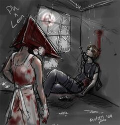 blood crossover gay gun injury leon_kennedy leon_s_kennedy male male_only masturbation monster_boy pyramid_head resident_evil silent_hill_2 unconscious weapon