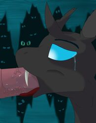 2014 animal_genitalia blue_eyes bulge changeling changeling_(mlp) deep_throat duo equine erection fangs fellatio feral fishy-pony friendship_is_magic fur hair hi_res horse horsecock male mammal my_little_pony neck_bulge open_mouth oral oral_sex penis pony public queen_chrysalis_(mlp) saliva sex tears throat_swabbing tongue tongue_out uncensored