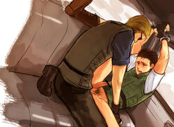 albert_wesker anal bondage bottomless bound_wrists car chris_redfield handcuffed handcuffs human male male_only malesub multiple_males penis resident_evil sex spread_legs sunglasses tagme yaoi