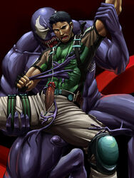 chris_redfield crossover cum human male male_only malesub marvel monster_boy multiple_males muscles penis rape resident_evil spider-man_(series) tentacle tentacle_on_male tentaclejob venom yaoi