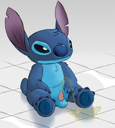 alien balls blue_fur claws disney furry_only gay lilo_and_stitch male no_humans peeing penis sitting stitch urine ziyen