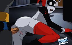 1boy 1girl anal anal_penetration anal_sex animated ass batman batman_(series) blue_eyes clothed_sex dc dcau famous-toons-facial female from_behind gloves harley_quinn human looking_back male mask penis pussy_juice sex stockings straight