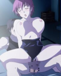 animated animated bouncing_breasts breasts censored huge_breasts iihara_nao moaning night nipples red_hair resort_boin sex short_hair stitched swimsuit vaginal_penetration