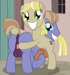 2015 anus badumsquish balls blue_eyes cutie_mark duo earth_pony equine female friendship_is_magic fur green_eyes grin hair herm horse intersex male mammal my_little_pony penis pony pussy raised_tail