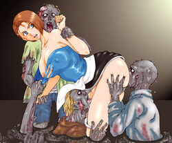 artist_request blue_eyess breasts brown_hair capcom jill_valentine nipples oral ran_(pixiv) resident_evil strapless torn_clothes zombie