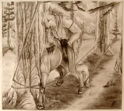anthro b/w blood bondage bound canine centaur equine female forced forest furry male rape rope sex straight tagme taur tree tribal vaginal_penetration wolf