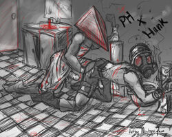 crossover hunk pyramid_head resident_evil silent_hill_2 yaoi