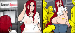 ass blue_eyes breasts closed_eyes earrings exhibitionism female flashing jeans long_hair male nipples open_mouth pants_down penis public pussy rain red_hair see-through shirt_lift smile sparrow standing t-shirt voyeur wet