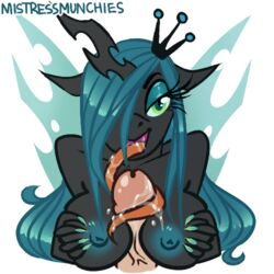 anthro anthrofied areola blush breasts changeling disembodied_penis duo equine fellatio female friendship_is_magic half-closed_eyes horn horse humanoid_penis licking looking_at_viewer male mammal mistressmunchies my_little_pony nipples oral paizuri penis penis_lick pony queen_chrysalis_(mlp) royalty sex solo_focus straight tongue tongue_out