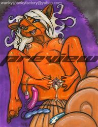 anthro breasts color female female_only fur furry furry_tail lactation lying multiple_tails nintendo nipples nude on_back pokemon pussy_juice sex_toy solo tagme tail vulpix vulva