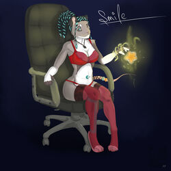 2015 anthro big_breasts blue_eyes breasts chair clothing feet female invalid_tag legwear lingerie mammal mouse nipples panties paws ring rodent sitting smile star stockings underwear zecho