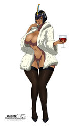 black_hair blue_eyes cleavage coat eliza eliza_(skullgirls) female hair_ornament large_breasts mugenillustrations navel open_clothes pussy short_hair skullgirls solo standing thighhighs wine