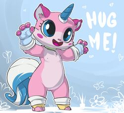! 2014 4_fingers :d anthro anthrofied arthropod atryl barefoot big_eyes blush butterfly cute edit english_text eyelashes feline fur gloves happy heart hi_res horn hug lego mammal me nipples nude open_mouth pawpads paws pussy raised_arm sharp_teeth smile standing teeth text the_lego_movie tongue unikitty