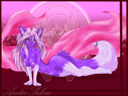 anthro arctic-sekai breasts cancer canine female fox fur furry_ears furry_tail no_humans nude piercing purple red_eyess solo tail takumi