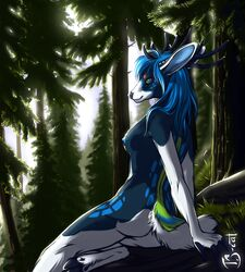 2015 anthro antlers blue_eyes blue_hair breasts cervine deer female forest hair hooves horn mammal nipples nude side_boob sitting smile solo tree ts-cat