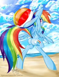 areola beach beach_ball berndem-bones bipedal blue_fur breasts clothing cloud cutie_mark equine friendship_is_magic fur hair horse looking_back mammal multicolored_hair my_little_pony nipples nude open_mouth outside pony pussy rainbow_dash_(mlp) rainbow_hair seaside small_breasts smile teeth wings