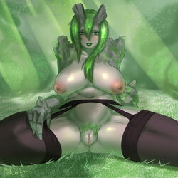 big_breasts breasts female garter green_hair inverted_nipples pubic_hair pussy