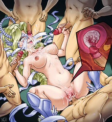 areolae bare_shoulders blonde_hair breasts cum cum_in_pussy cum_on_body digimon female female happy happy_sex long_hair lying masturbation multiple_boys nipples nude open_mouth penis pussy pussy_juice saliva sex spread_legs straight testicles vaginal_penetration venusmon very_long_hair x-ray