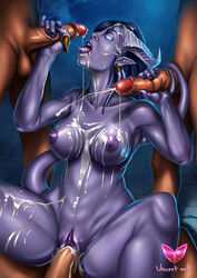 balls blue_hair breasts cum cum_in_mouth cum_in_pussy cum_inside cum_on_breasts cum_on_face cum_on_stomach draenei erection female glowing glowing_eyes group group_sex hair handjob horn human male mammal nipples nude penetration penis pointy_ears purple_skin pussy sex spread_legs spreading tail_sex tailjob tongue tongue_out vaginal_penetration vaginal_penetration video_games vincentcc warcraft