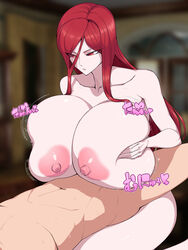 areola bouncing_breasts breast_squeeze breasts collarbone erect_nipples faceless_male female gigantic_areola gigantic_breasts gigantic_nipples huge_areola huge_breasts huge_nipples long_hair lying nipples on_back paizuri pale_skin puffy_areola red_eyes red_hair solo_focus space_jin white_skin