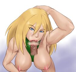 areolae arm_up bare_shoulders between_breasts blonde_hair blue_eyes breasts clothes_between_breasts disembodied_penis eyebrows eyelashes fellatio female highres inverted_nipples large_breasts leotard lips lipstick lita_luwanda long_hair looking_at_viewer makeup miyabi_(h-eaven) motion_blur muscle no_hat oral penis pov saliva solo street_fighter uncensored veins veiny_penis