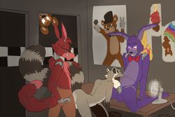 2015 anal anal_sex balls bonnie_(fnaf) closed_eyes five_nights_at_freddy's foxy_(fnaf) freddy_(fnaf) group group_sex looking_down machine male male/male mammal naoma-hiru oral penetration penis raccoon red_eyes robot sex video_games