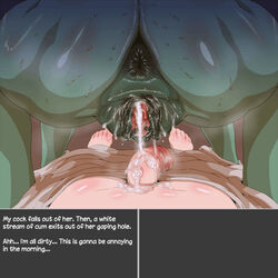 ass big_ass big_penis butt cum cum_drip cum_in_pussy cum_inside cum_on_penis cum_pool ejaculation english_text female gaping huge_ass huge_butt human interspecies male naked nezumi nude nude_female nude_male orc orgasm penis precum puffy_anus pussy pussy_juice reverse_cowgirl_position skyrim straight sweat sweating sweaty the_elder_scrolls uncensored vaginal_penetration wet