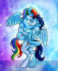 2014 anthro blue_fur blue_hair blush breasts closed_eyes cutie_mark duo equine female friendship_is_magic fur hair male mammal multi-colored_hair my_little_pony nude pegasus penis rainbow_dash_(mlp) rainbow_hair sex soarin_(mlp) standing straight superkeen sweat wings wonderbolts_(mlp)