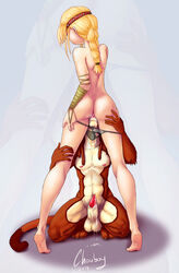 anthro ass astrid_hofferson balls chouboy clothing cougar cum cunnilingus duo erection feline female freckles hair how_to_train_your_dragon human interspecies kneeling male mammal nude oral oral_sex panties panties_down penis pussy sex sheath standing straight sucking underwear vaginal_penetration