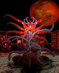 arthropod cephalopod crustacean cyclops horn horror lobster looking_at_viewer marine moon octopus open_mouth penis planet red_theme sharp_teeth solo standing teeth tentacle tzimisce vampire