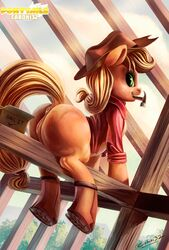 2014 anus applejack_(mlp) ass back_turned bedroom_eyes big_butt blonde_hair caboni32 clitoris clothing construction equine exposed female feral freckles friendship_is_magic fur green_eyes hair hammer hat hi_res hooves horse innuendo long_hair looking_at_viewer looking_back mammal my_little_pony nails orange_fur pony pussy raised_tail shirt signature smile solo