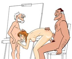 age_difference archimedes_porter bent_over bigdaddy clayton disney double_penetration fellatio female from_behind human incest jane_porter male multiple_males tarzan uncensored