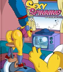 ass blue_hair bulge camel_toe exercise fat_man female hairband hanging_breasts homer_simpson huge_ass huge_breasts human kogeikun large_ass leotard long_hair male marge_simpson milf perky_breasts straight sweat sweating the_simpsons thick_thighs thighs tv very_long_hair