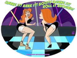 coonfoot crossover dancing female female_only human kim_possible kimberly_ann_possible kimmy_meisner little_black_dress multiple_females panties sym-bionic_titan upskirt white_panties