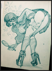 bent_over female female_only glasses hanna_barbera high_heels human lipstick looking_back mirror monochrome panties reiq scooby-doo solo upskirt velma_dinkley
