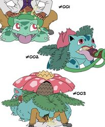 2013 bulbasaur claws clothed clothing cum cum_in_mouth cum_in_pussy cum_inside duo fellatio female female_on_top feral flora_fauna flower from_behind green_body human interspecies ivysaur josemalvado male nintendo open_mouth oral oral_sex penetration penis plain_background pokemon pokephilia sex size_difference straight text tongue tongue_out vaginal_penetration venusaur video_games white_background zoophilia