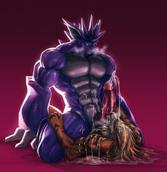 abs anthro arcanine biceps big_muscles black_nose blue_eyes canine cum cum_on_body cum_on_face cum_on_penis cum_on_tongue cumshot duo erection fur glans horn humanoid_penis kneeling kuron lying male male/male mammal muscles nidoking nintendo nude on_top open_mouth orgasm pecs penis pokemon scalie smile spread_legs spreading teeth tongue tongue_out video_games