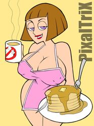 1girl apron bob_cut breasts brown_hair busty cleavage clothes coffee danny_phantom drink erect_nipples female female_only food fork ghostbusters half-closed_eyes human knife lipstick looking_at_viewer madeline_fenton milf naked_apron nipples pancakes pixaltrix purple_eyes red_lipstick seductive short_hair smile solo standing voluptuous wide_hips