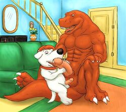 abs anthro balls brian_griffin canine claws dinosaur dj_mixer duo erection family_guy furry furry_only gay happy humanoid_penis interspecies male male_only no_humans oral penis scalie t-rex toe_claws