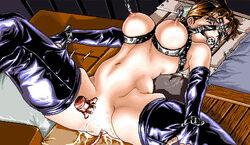 ball_gag bondage crotch_rope gag humiliation latex nipple_torture nipples torture