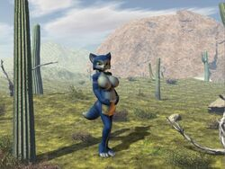 4:3 anthro barefoot blue_fur breasts cactus clothes color day female female_only fox fur furry furry_breasts furry_ears furry_tail krystal open_eyes outdoors pointy_ears solo standing star_fox tagme tail topless