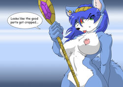 5_fingers anthro black_nose blue_fur blue_hair breasts color dialog english_text female female_only fox fur furry furry_breasts furry_ears furry_tail green_eyes hair holding krystal krystal's_staff looking_at_viewer nipples open_eyes pink_nipples pointy_ears solo speech_bubble staff star_fox tail text tongue white_fur yiffmasters