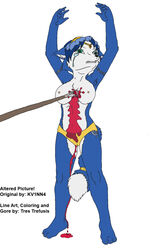 bleeding blood blood_drip blood_stain blood_trail blue_fur blue_hair breasts clothing color ears exposed_breasts eyes female female_only fox front_view fur furry furry_breasts furry_ears furry_tail gore green_eyes hair injury krystal open_eyes puncture solo spear stabbing star_fox tail tear topless white_background wound