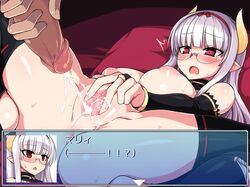 anus blush breasts bridal_gauntlets cum cum_on_pussy ejaculation female glasses heidimarie_w_schnaufer horns inverted_nipples large_breasts long_hair nipples null_(nyanpyoun) open_mouth panties panties_around_leg penis pointy_ears pussy pussy_juice red_eyes silver_hair solo_focus spread_pussy strike_witches thighhighs toeless_legwear translation_request underwear