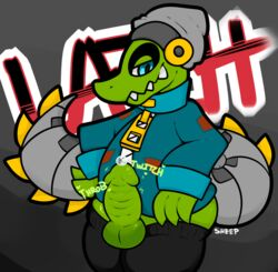 alligator anthro ass bad_sheep balls clothed clothing cum cum_on_penis english_text erection half-closed_eyes half-dressed hat headgear heart jacket latch lethal_league looking_down male orgasm pants penis reptile scalie sharp_teeth smile solo standing teeth text thick_penis video_games